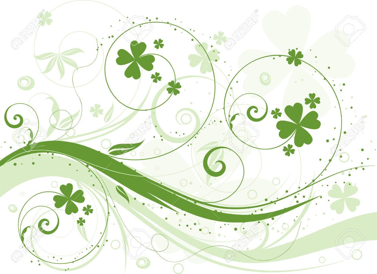 abstract floral design with shamrock royalty free cliparts