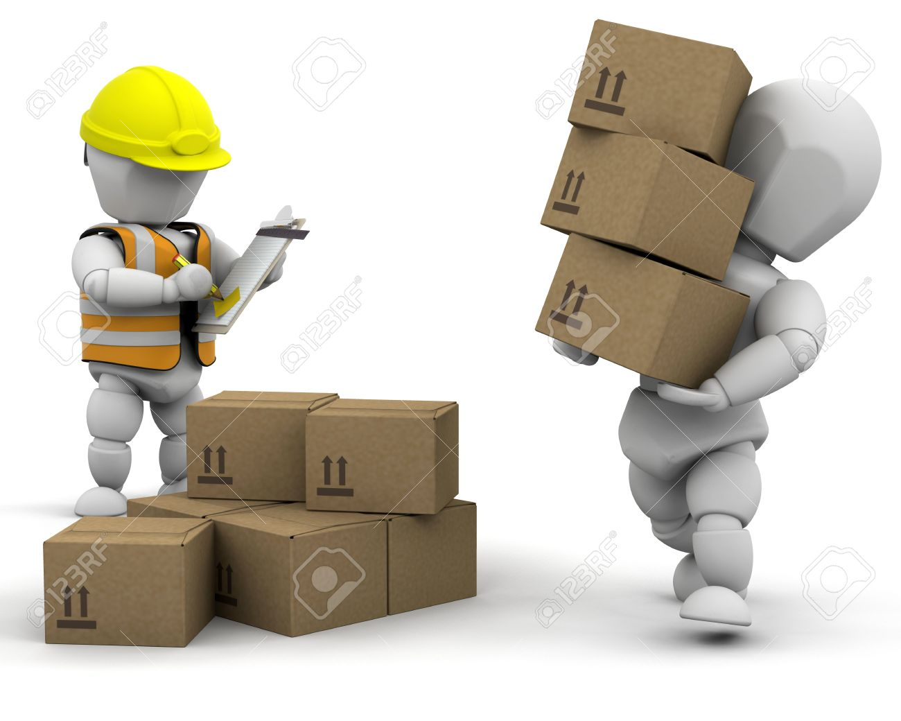 3D Removal Men Handling Materials - Isolated Stock Photo, Picture ...
