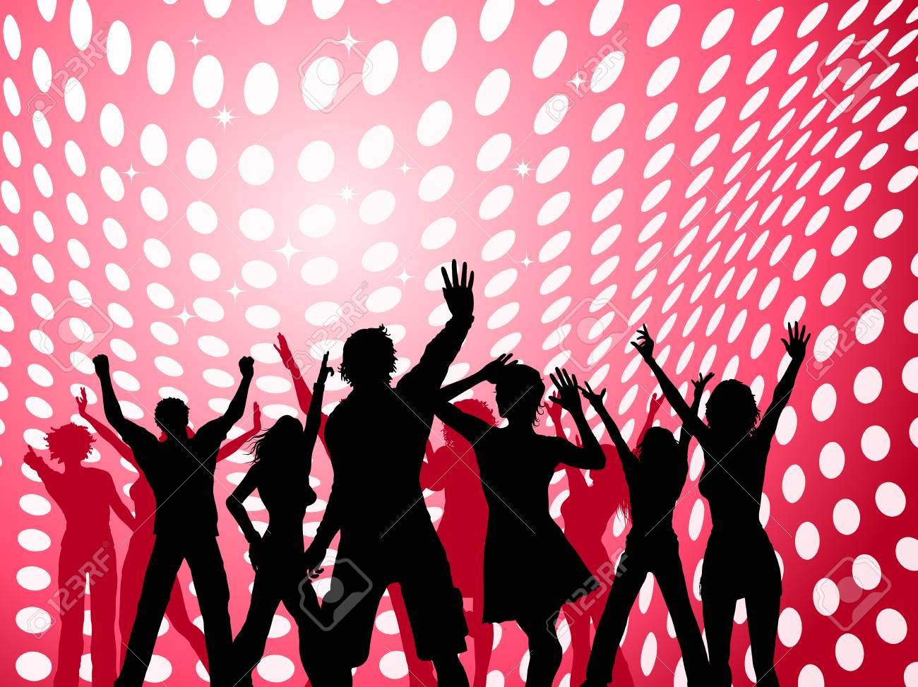 Silhouettes of people dancing on dot background Stock Vector - 4644300