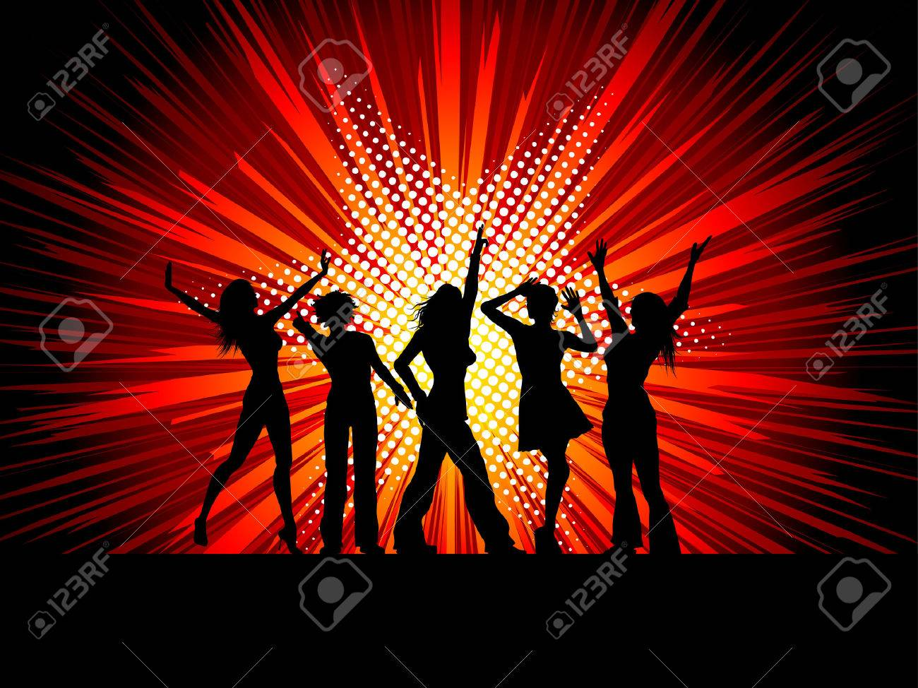 Silhouettes of female dancers on starburst background - 4644302