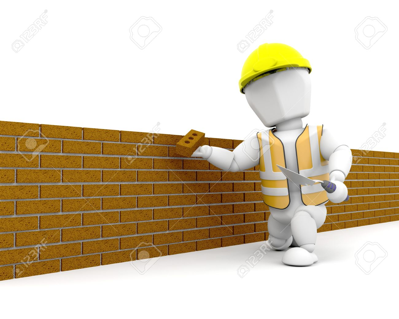 3D Render Of A Person Building Brick Wall Stock Photo
