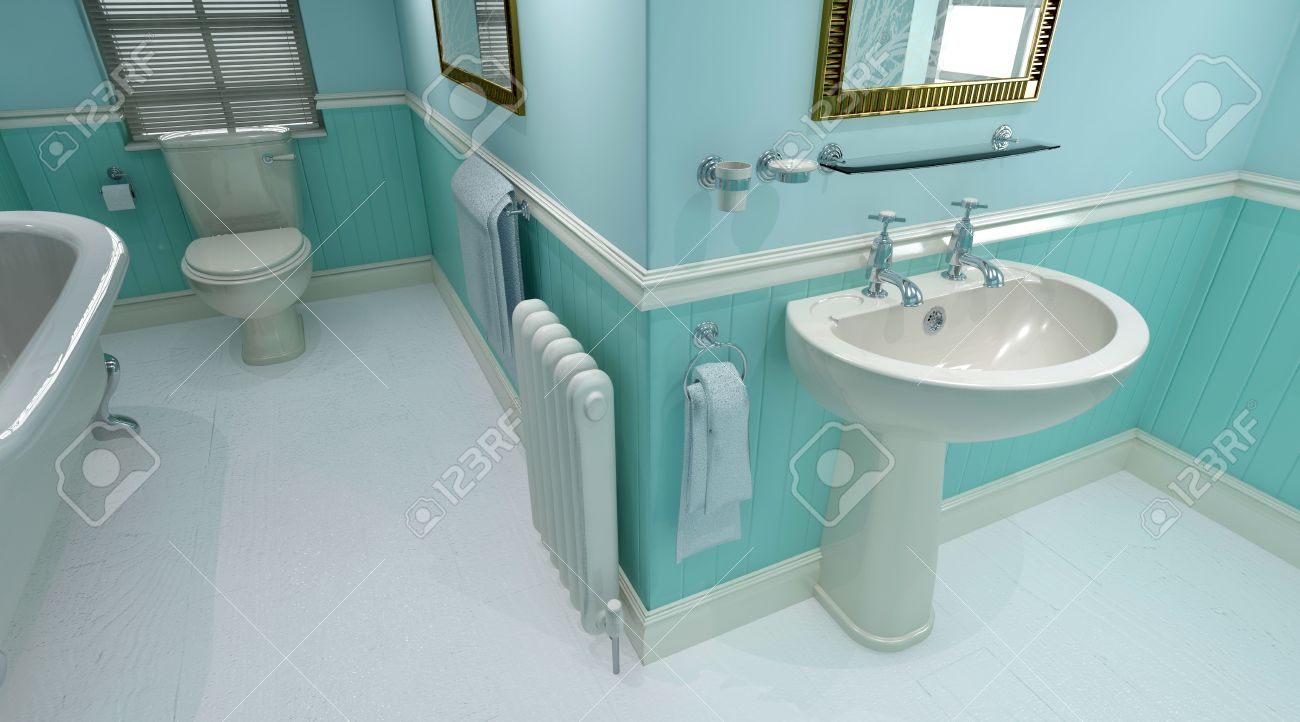 3d render of contemporary bathroom interior stock photo, picture
