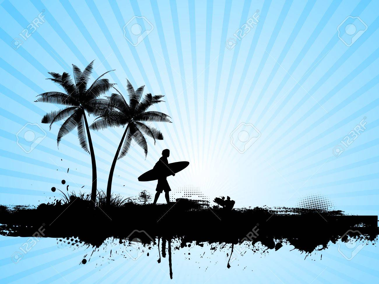Silhouette of a surfer on a grunge palm tree background Stock Vector - 4979430
