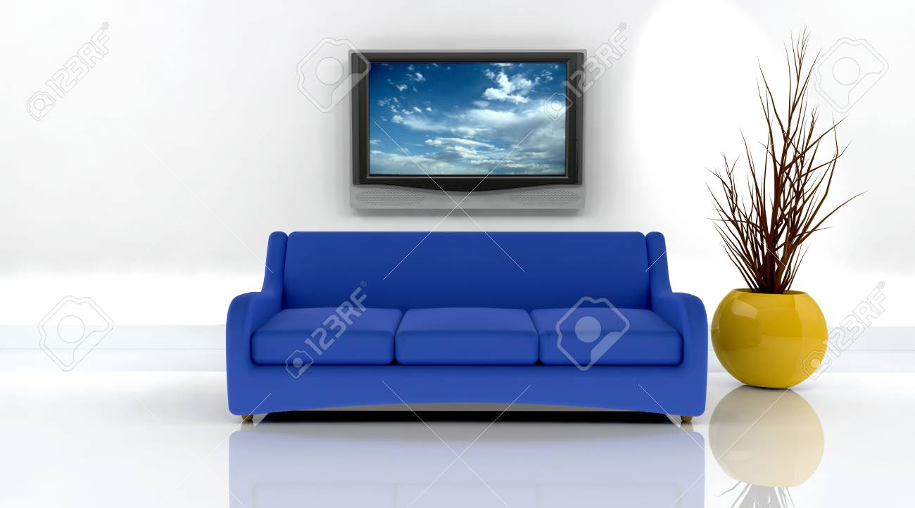 3d render of sofa and television on the wall Stock Photo - 5056966