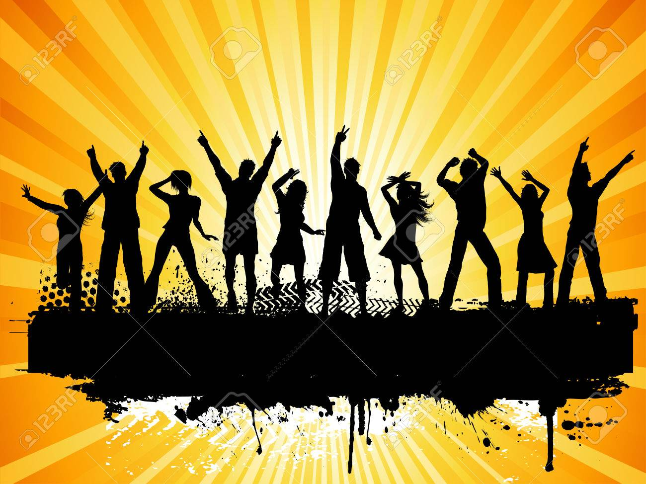 Silhouettes of people dancing on grunge background Stock Vector - 5143195
