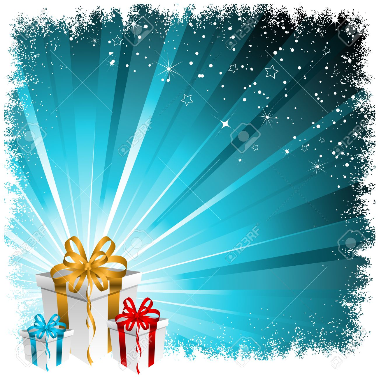 Christmas Gift Background With Snowy Border Royalty Free Cliparts ...