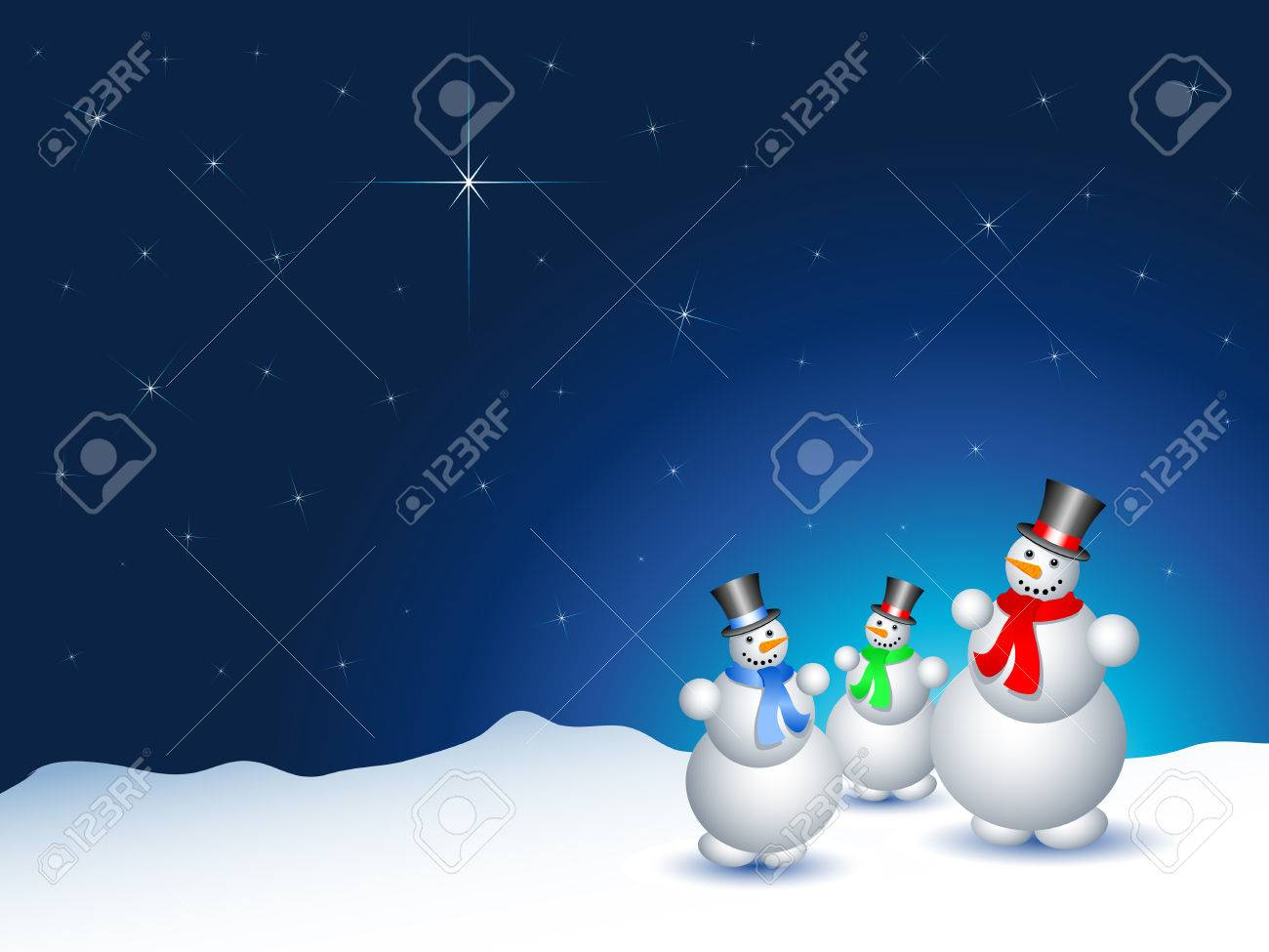 Snowmen on a snowy night with a starry sky Stock Vector - 5842407