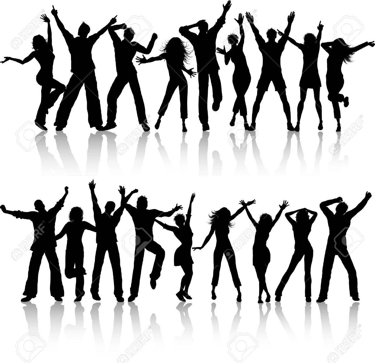 Foto Sagome Persone.Sagome Di Persone Ballare Su Sfondo Bianco