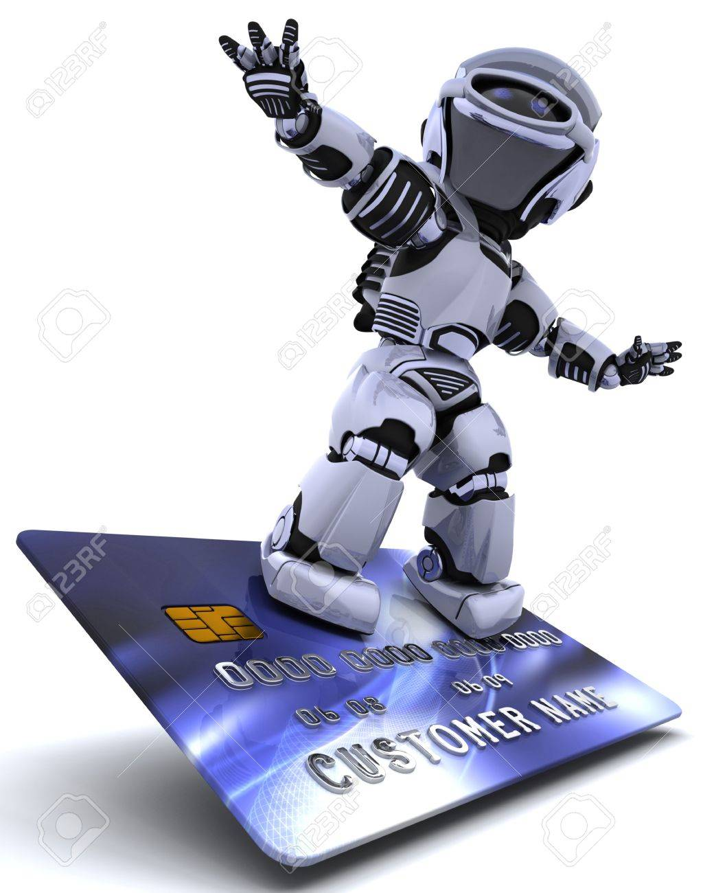 3D render of a robot and charge card Stock Photo - 6496857