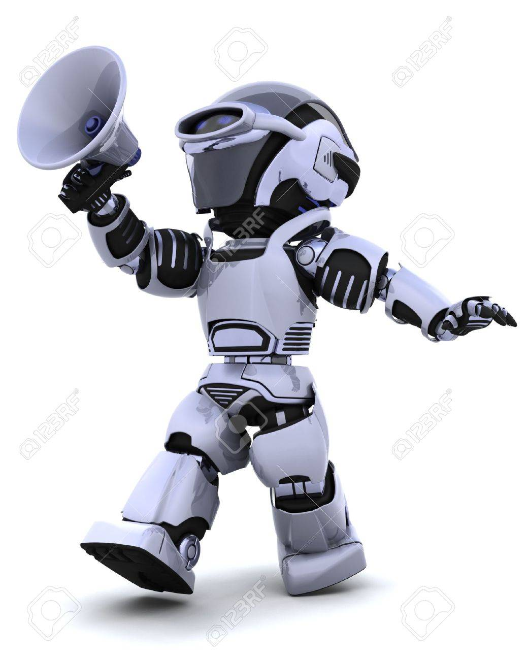 3D render of a robot shouting into bullhorn Stock Photo - 6604060