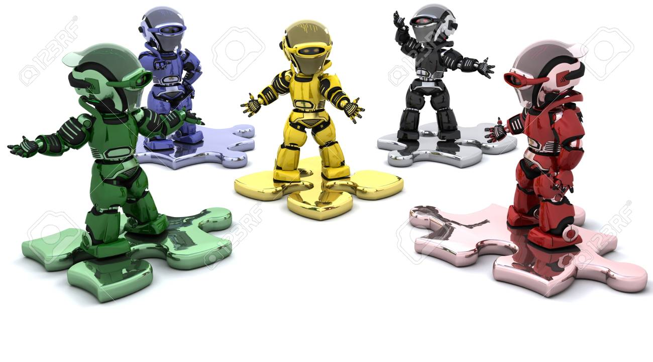 3D render of robots on jigsaw pieces solving problems Stock Photo - 6604079