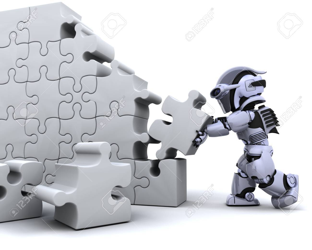 3D render of a robot solving jigsaw puzzle Stock Photo - 6604059