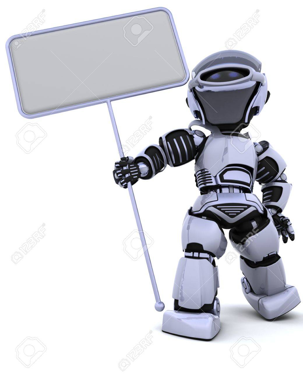 3D render of a robot and blank sign Stock Photo - 6664267