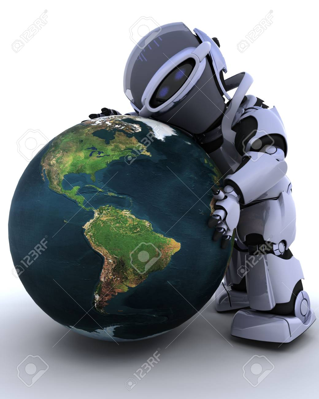 3D render of a robot embracing earth Stock Photo - 6664277