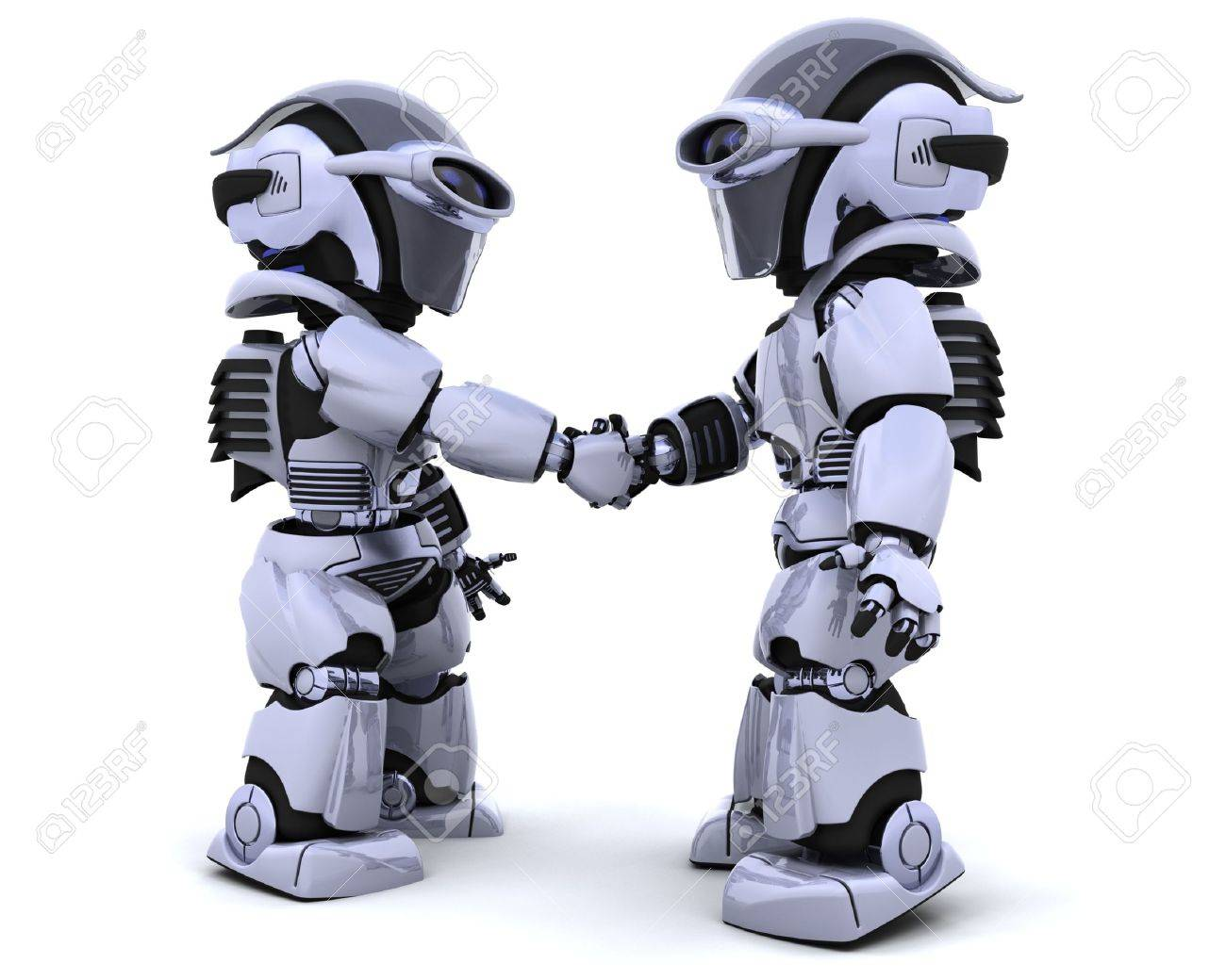 3d render of two robots shaking hands Stock Photo - 6664274