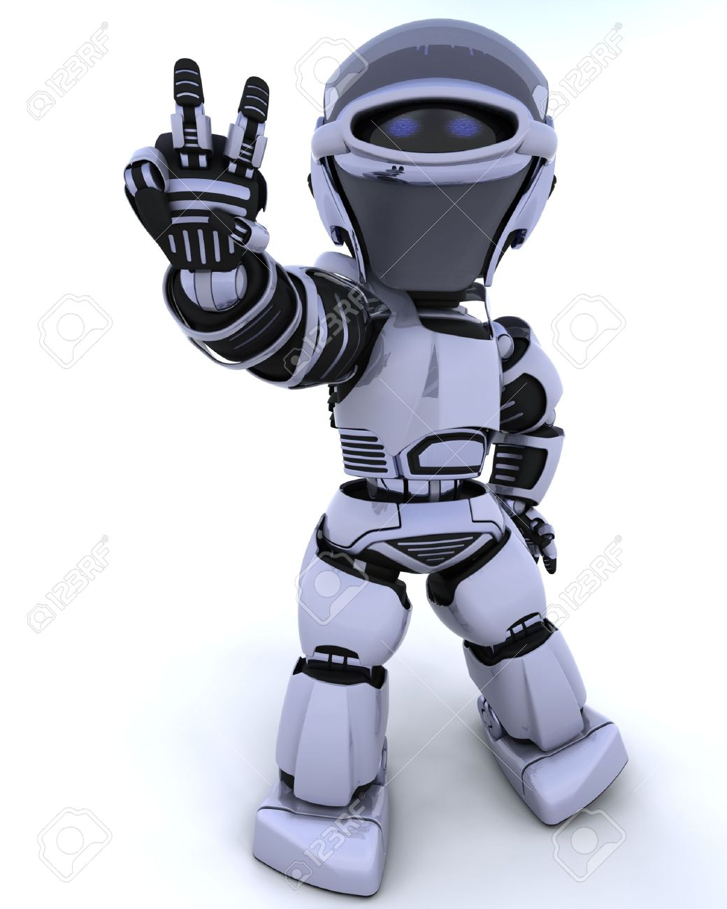 3D render of a robot presenting peace sign Stock Photo - 6758835