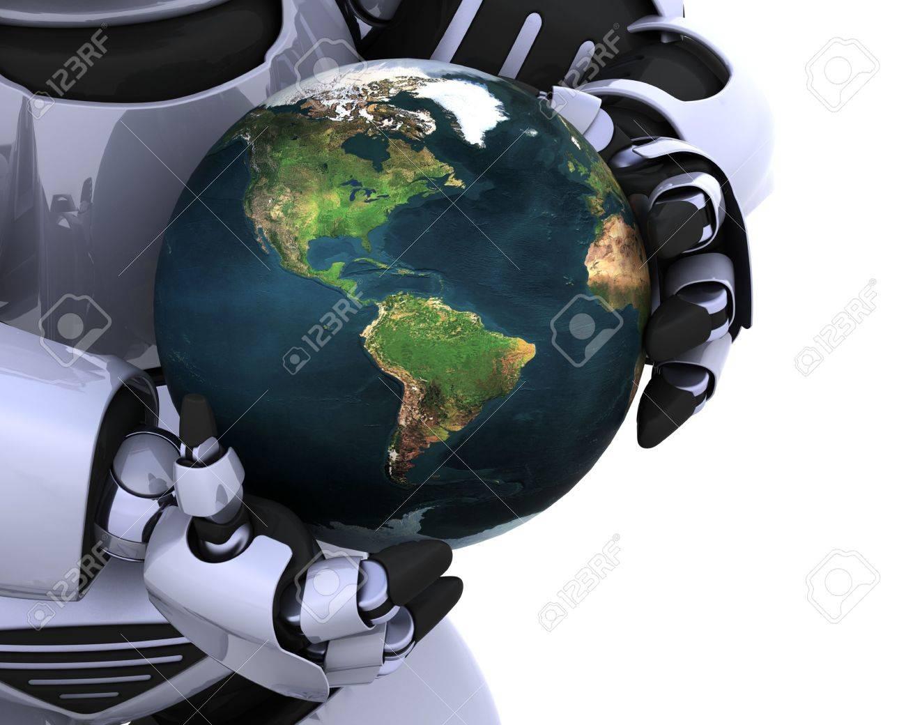 3d Render Eines Mannes Der Einen Globus Zu Schutzen Lizenzfreie