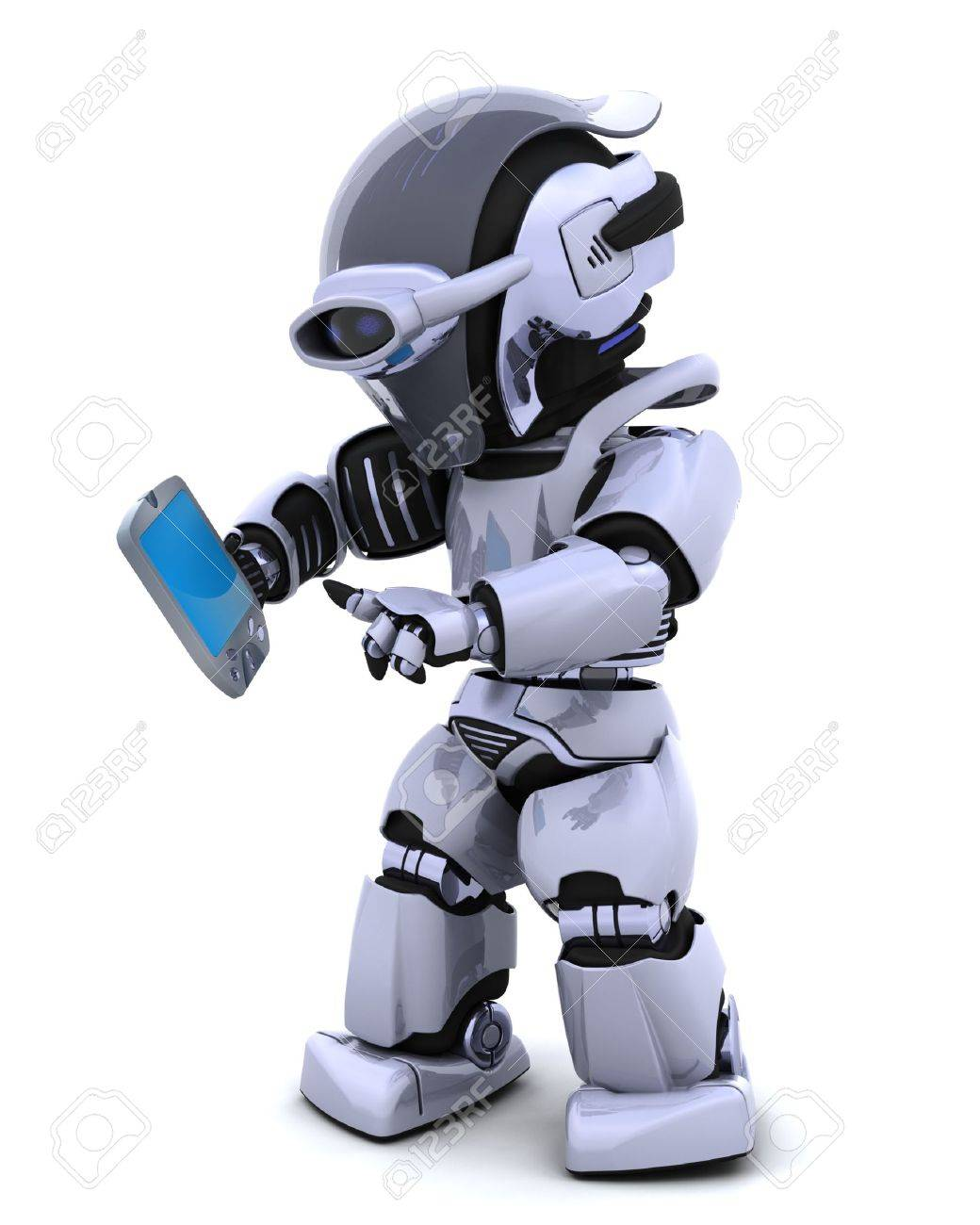 3D render of a robot character witha a palm pilot Stock Photo - 6931267
