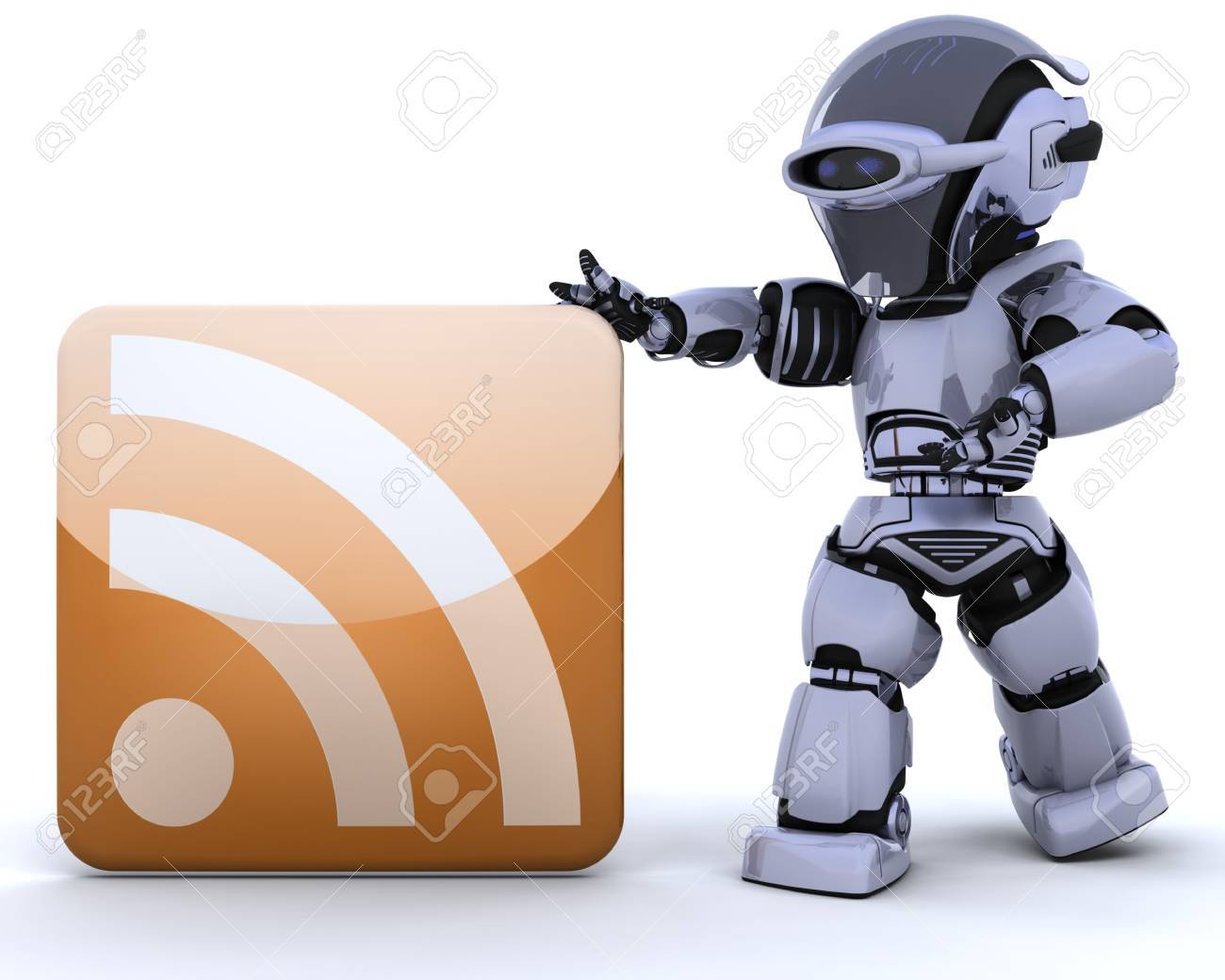 3D render of a robot with an RSS icon Stock Photo - 6931264