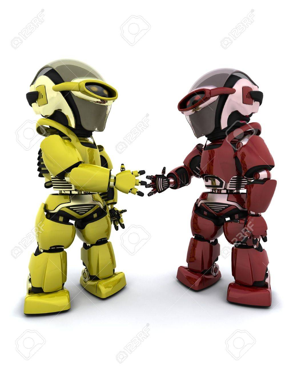 3d Render of robots making a deal Stock Photo - 6931333