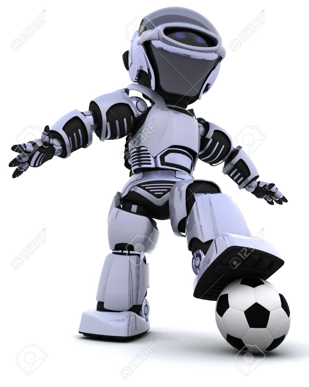6958806 3d render of a robot playing soccer stock photo football