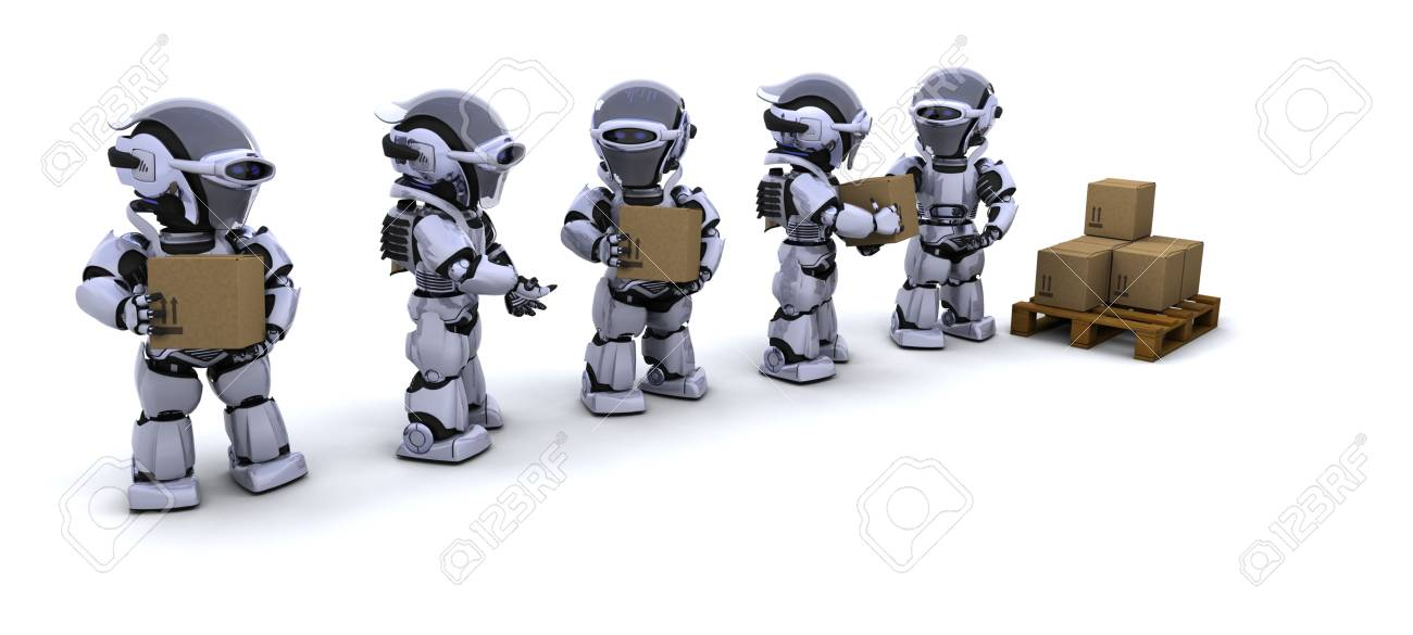 3D render of a robots moving shipping boxes Stock Photo - 7046674