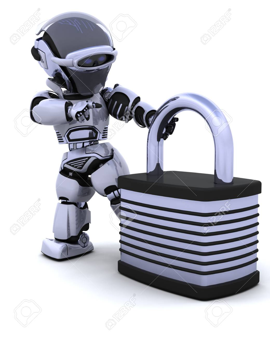 3D Render of a robot with padlock Stock Photo - 7150375