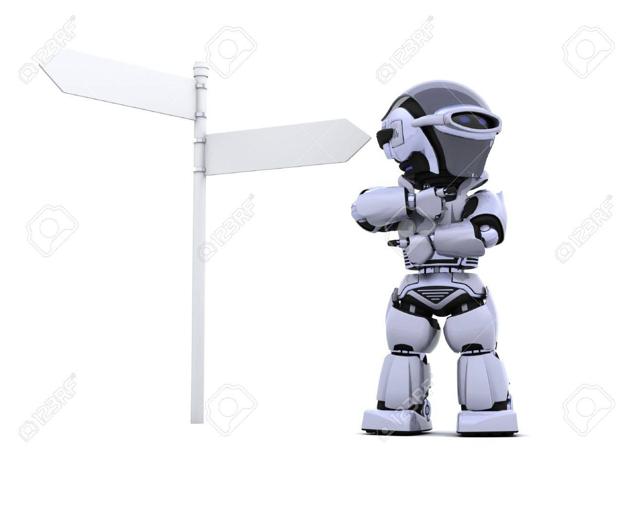 3D render of a robot at a signpost Stock Photo - 7150365