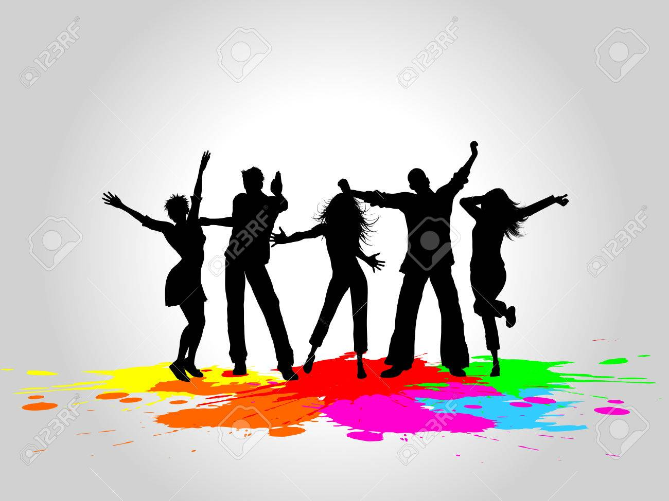 Silhouettes of people dancing on a grunge background Stock Vector - 7199583