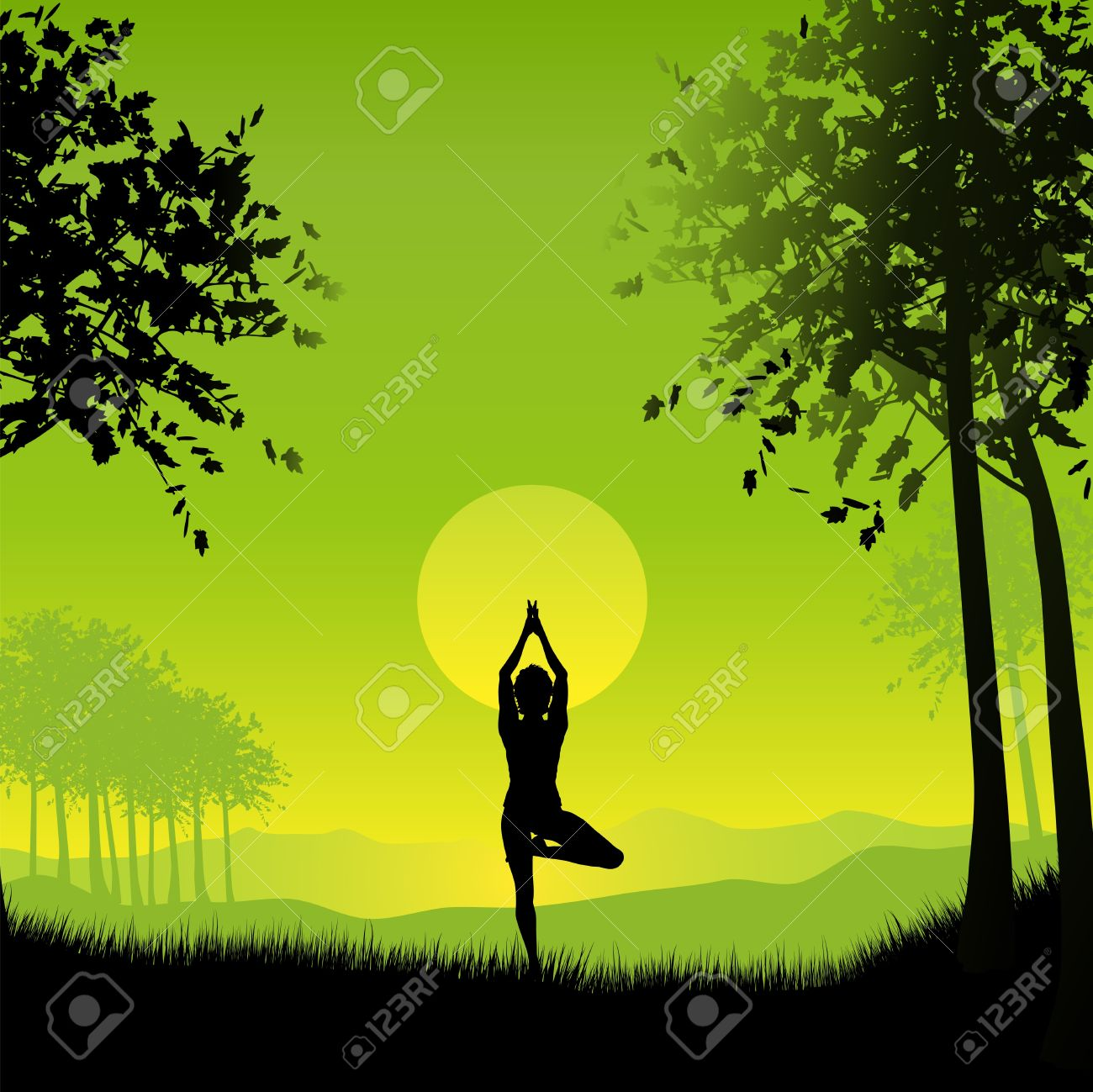 Silhouette of a female in a yoga pose under a sunset sky Stock Photo - 7287162