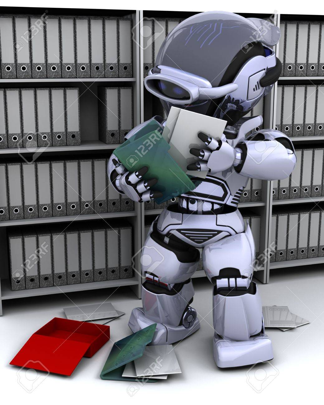 3D Render of robot filing documents Stock Photo - 7387271