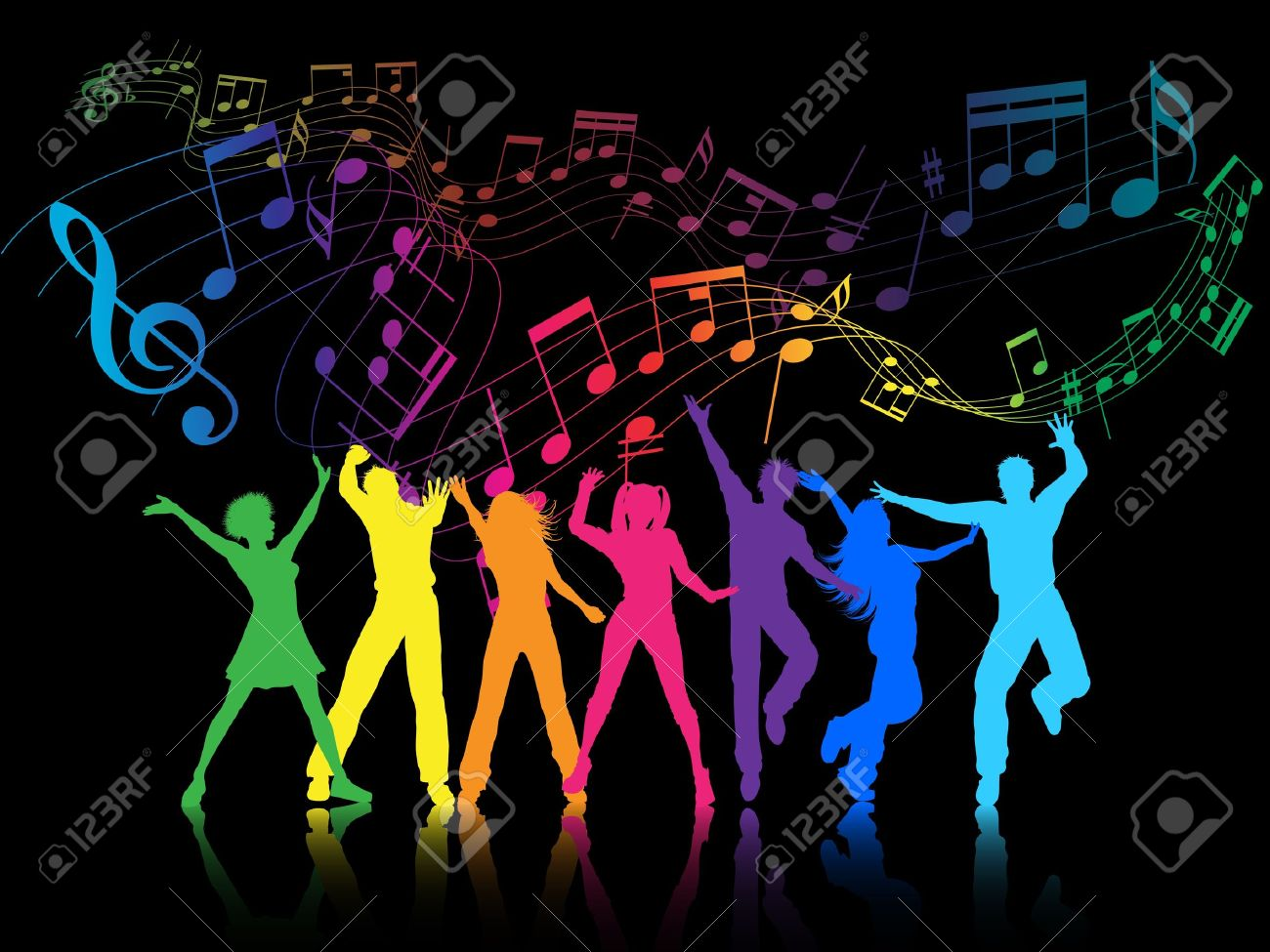 A colourful party background with people dancing Stock Photo - 7523333