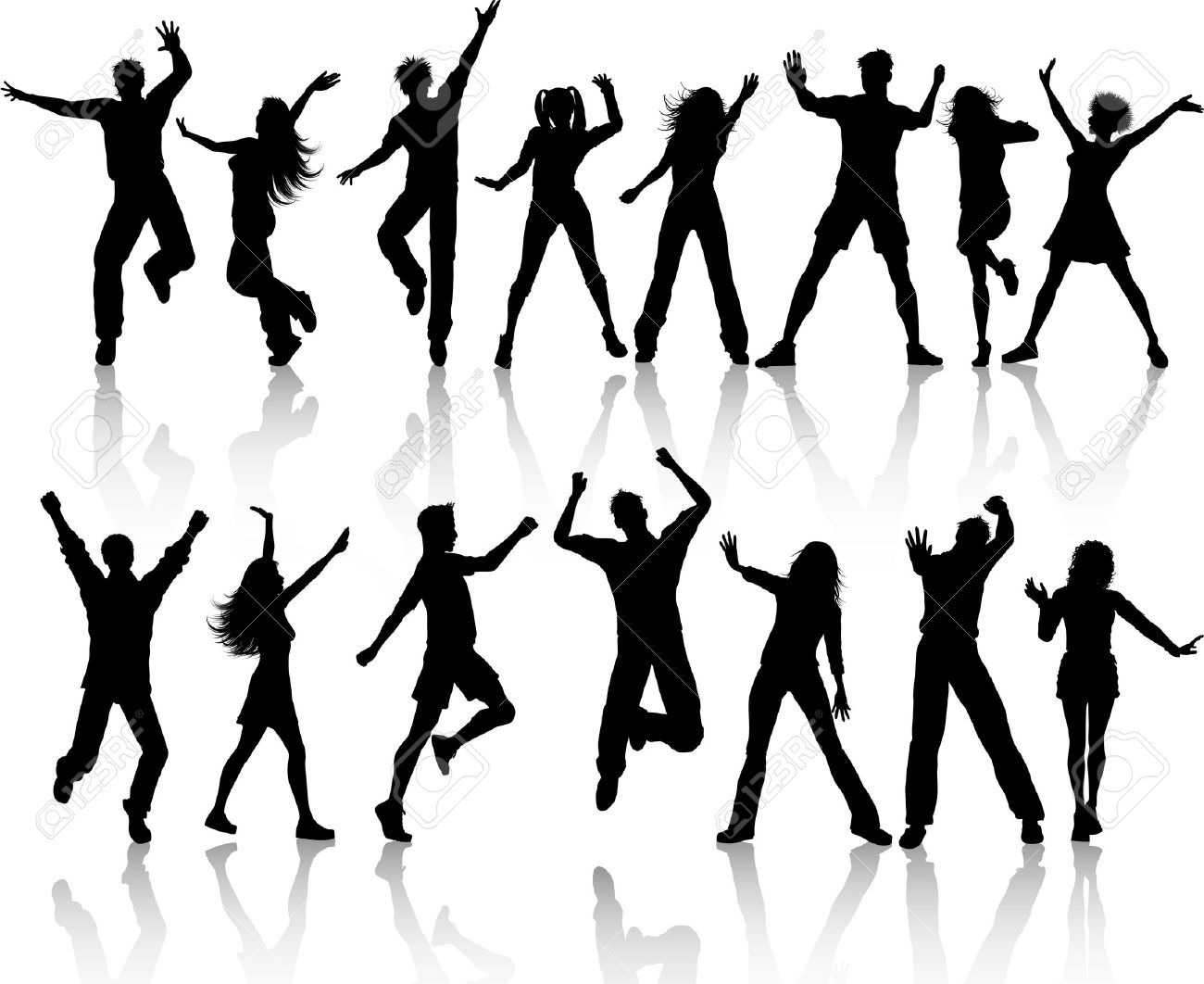 A collection of silhouettes of people dancing Stock Photo - 7523335