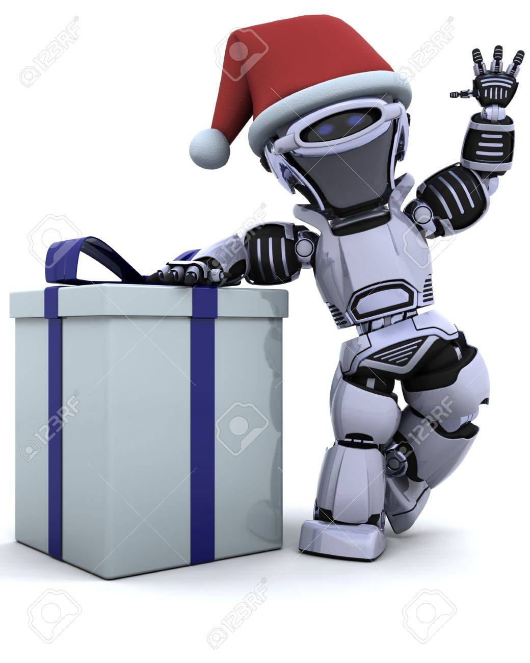 3D render of a robot with christmas gift box with bow Stock Photo - 7569811