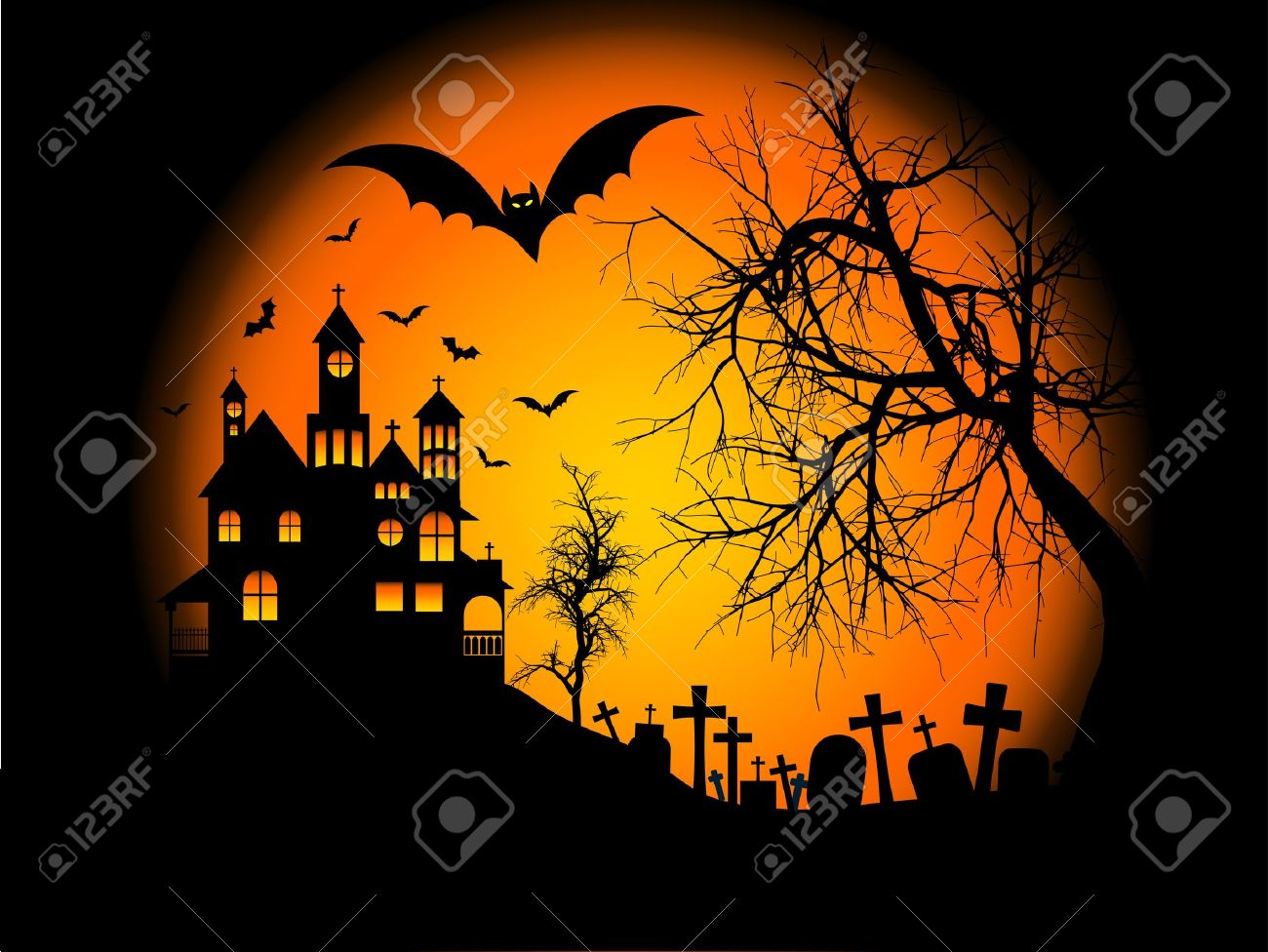 Halloween Spooky House.Spooky Halloween Background With Haunted House On A Hill