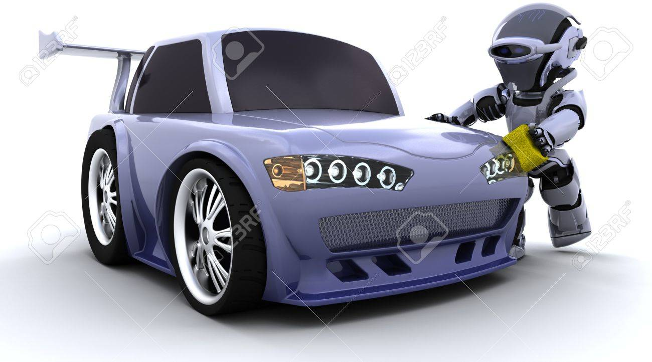 3D render of a robot washing a car Stock Photo - 7684548