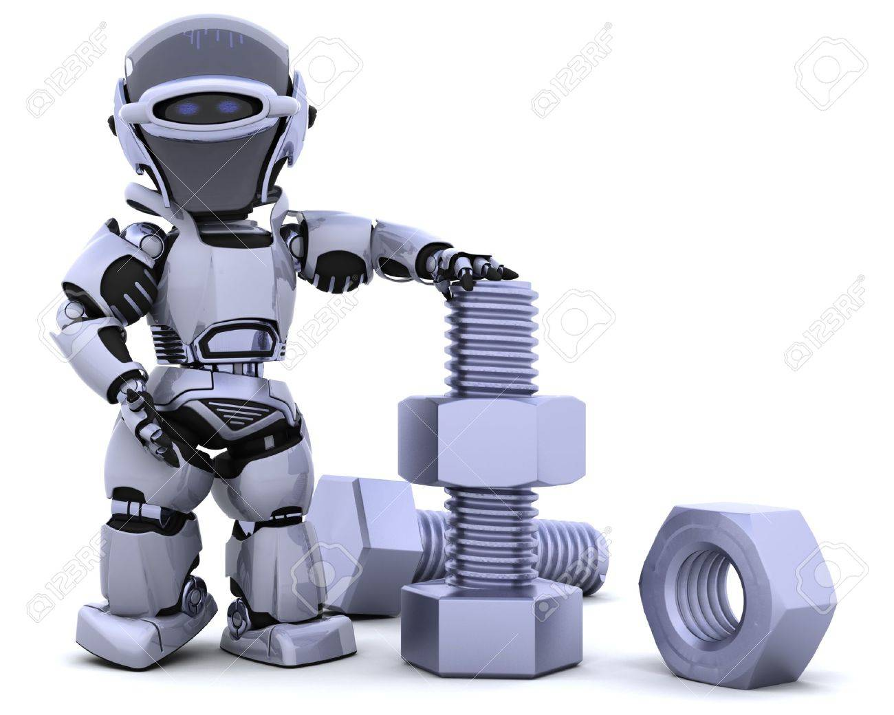 3D render of a robot  with nuts and bolts Stock Photo - 7825406