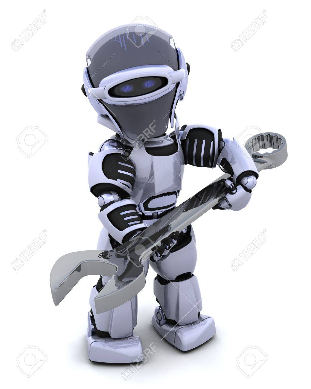 3D render of a robot  with open ended spanner Stock Photo - 7825402
