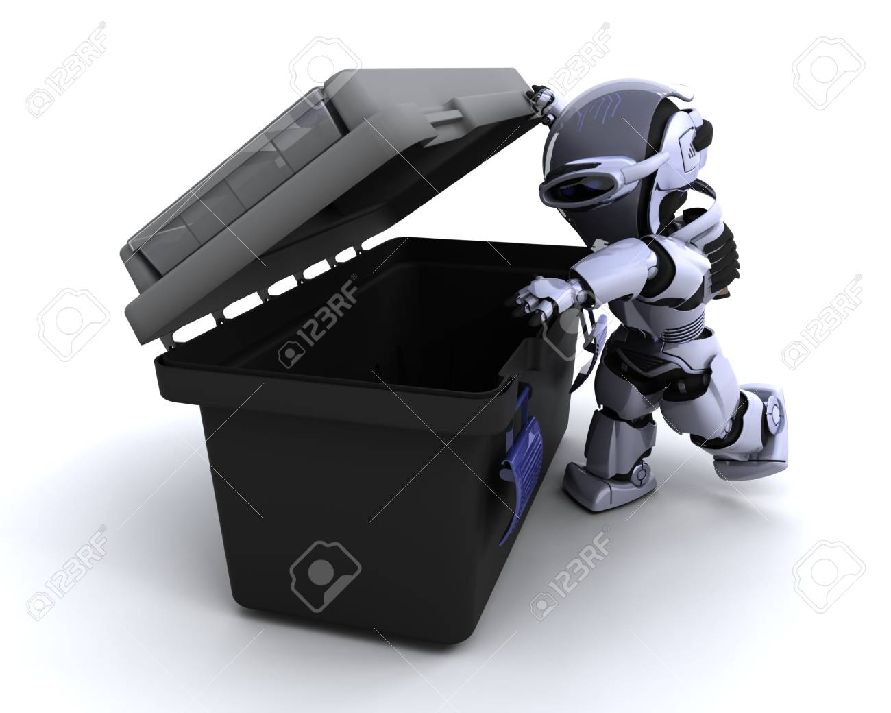3D render of a robot  with tool box Stock Photo - 7825423