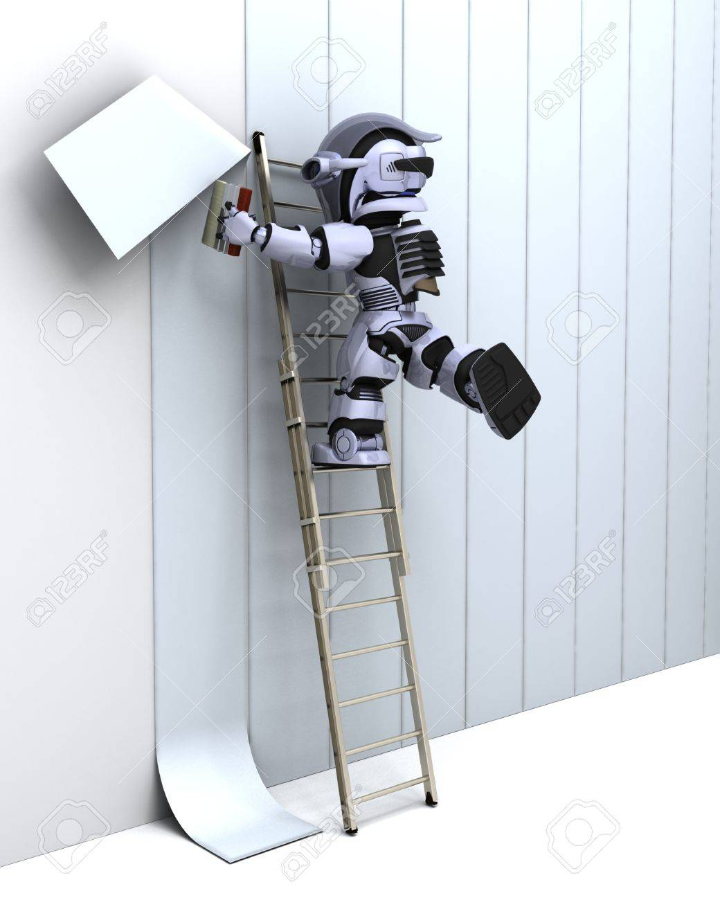 3D render of robot decorating a wall Stock Photo - 7862804