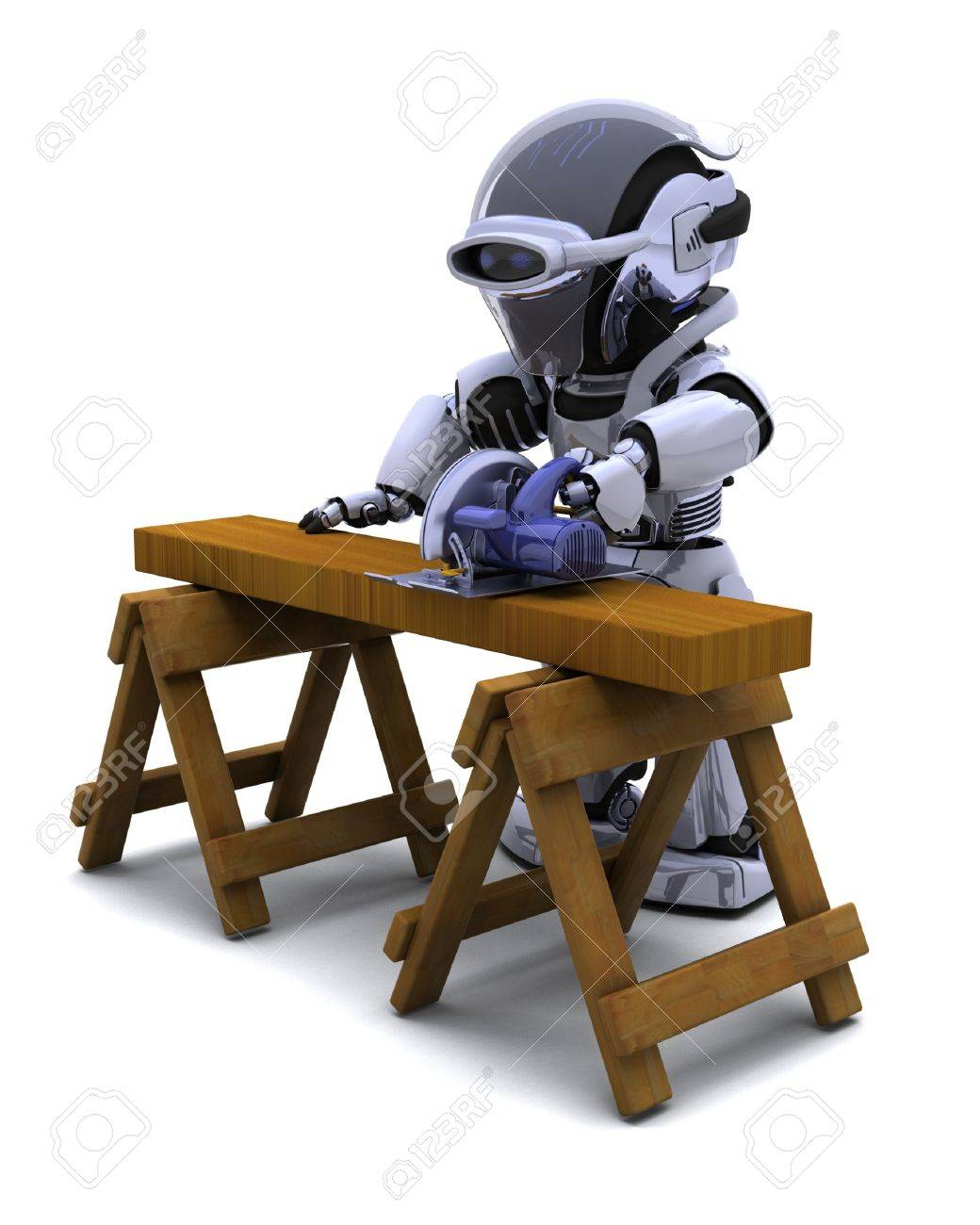 3D render of robot with power saw cutting wood Stock Photo - 7862791