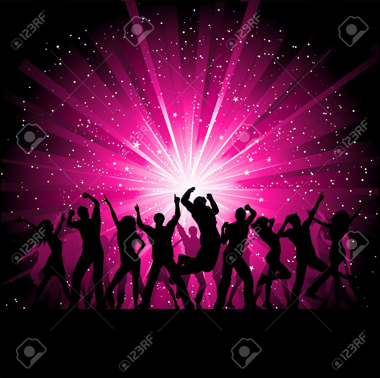 Silhoeuttes of people dancing on a starburst background Stock Photo - 7933836