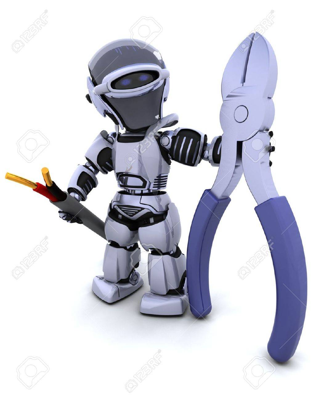3D Render Of Robot With Wire Cutters And Cable Stock Photo, Picture ...