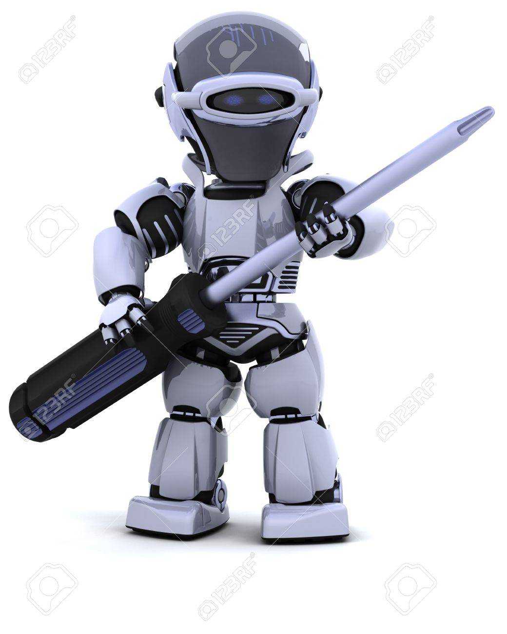 3D render of robot with Stock Photo - 8228135
