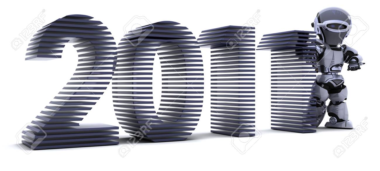 3D render of a Robot presenting 2011 for new year Stock Photo - 8228152