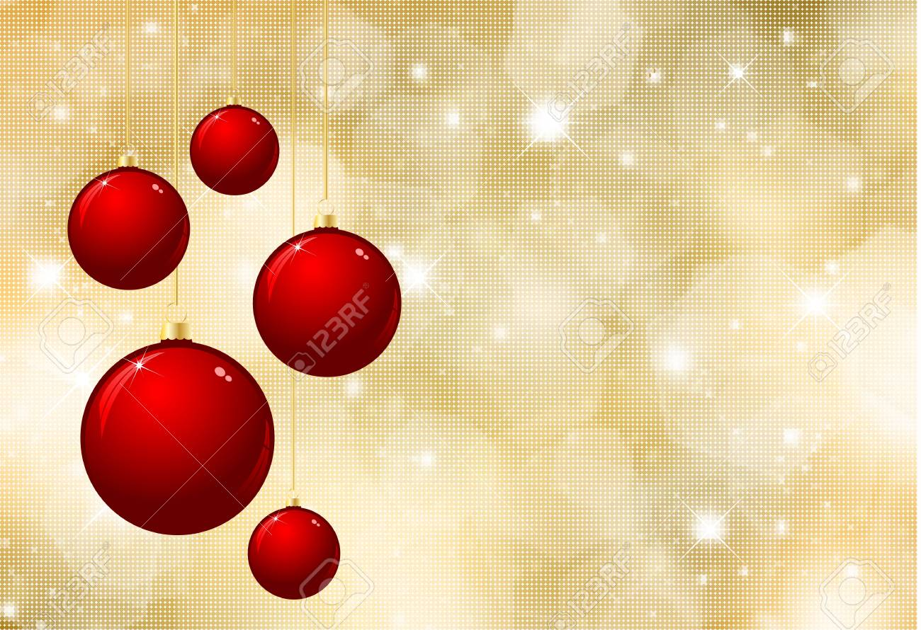 Glittery gold Christmas background with hanging baubles Stock Photo - 8279363