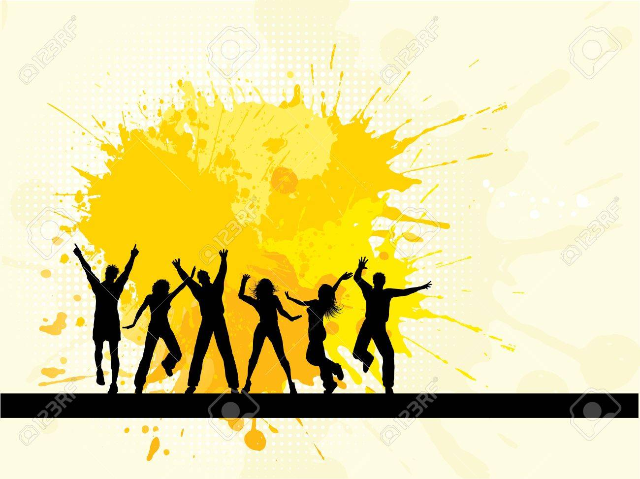 Silhouettes of people dancing on a grunge background - 8402286