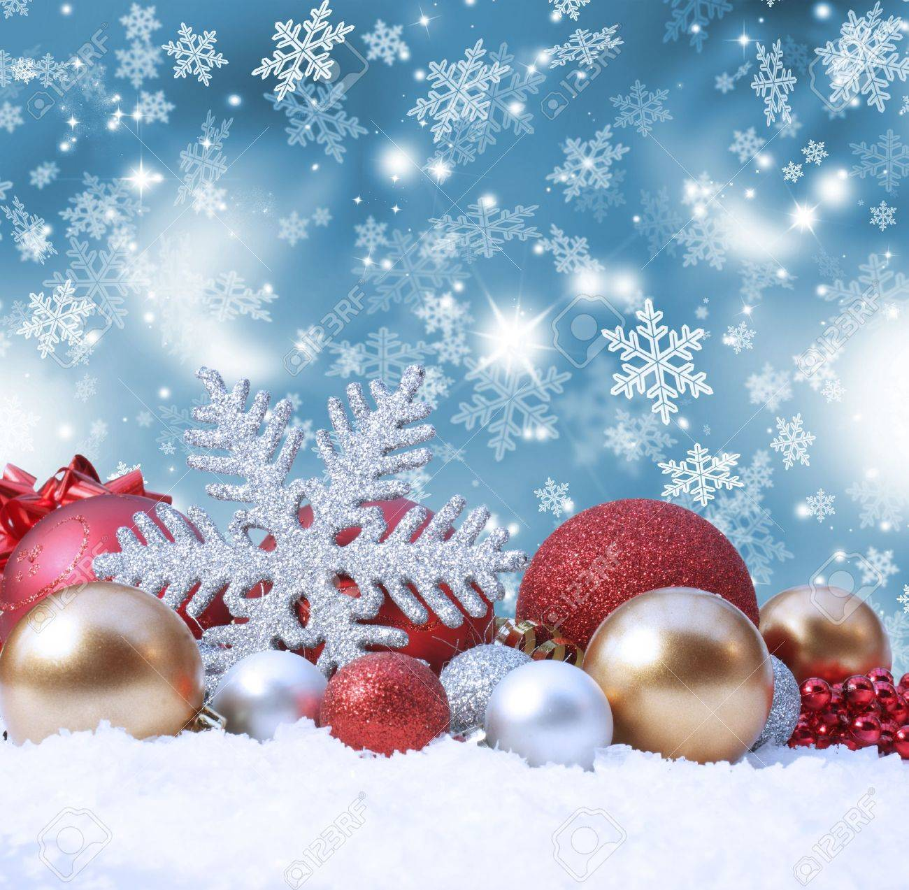 Decorative christmas background with decorations in snow Stock Photo - 8468581