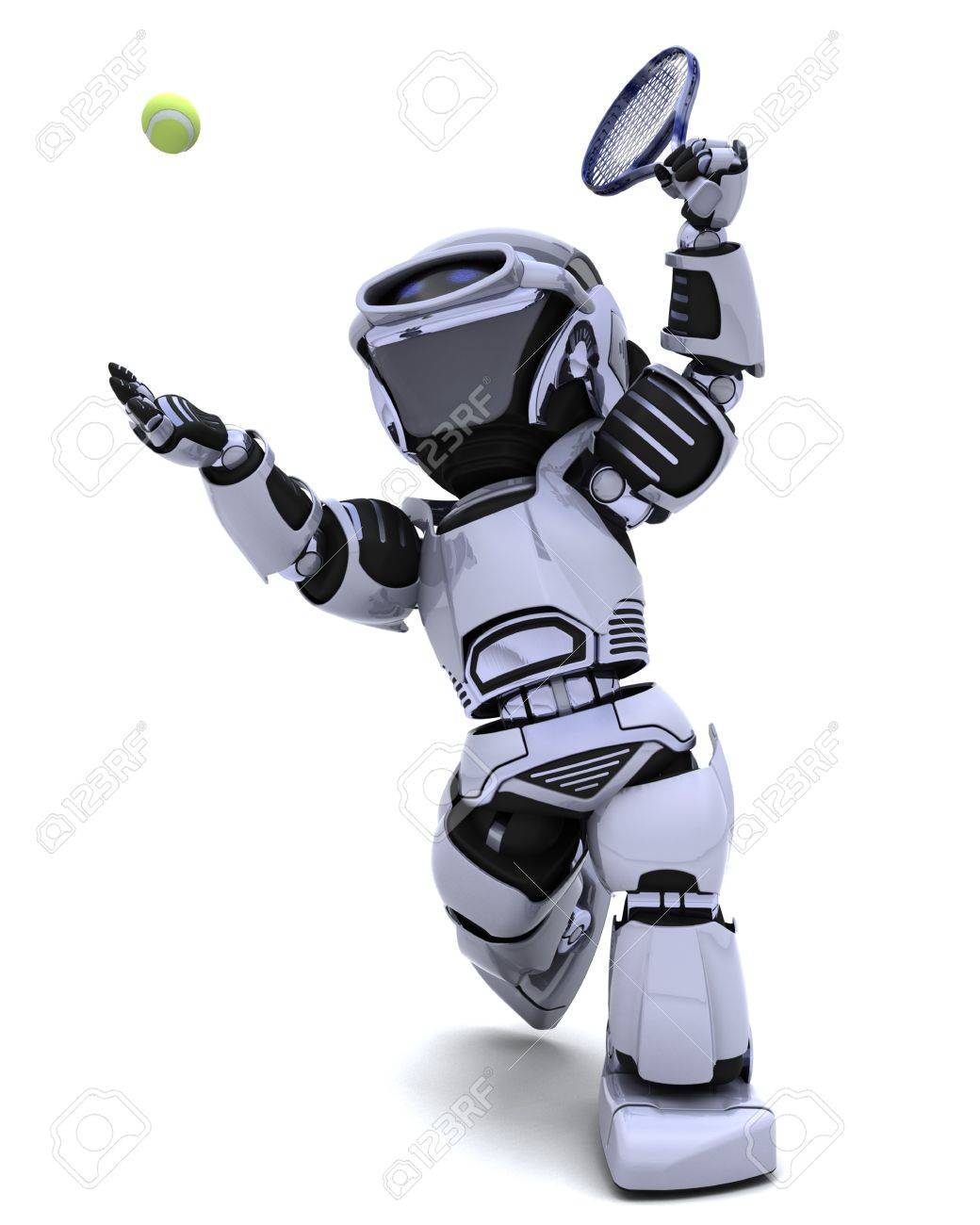 3D render of a Robot playing tennis Stock Photo - 8614031