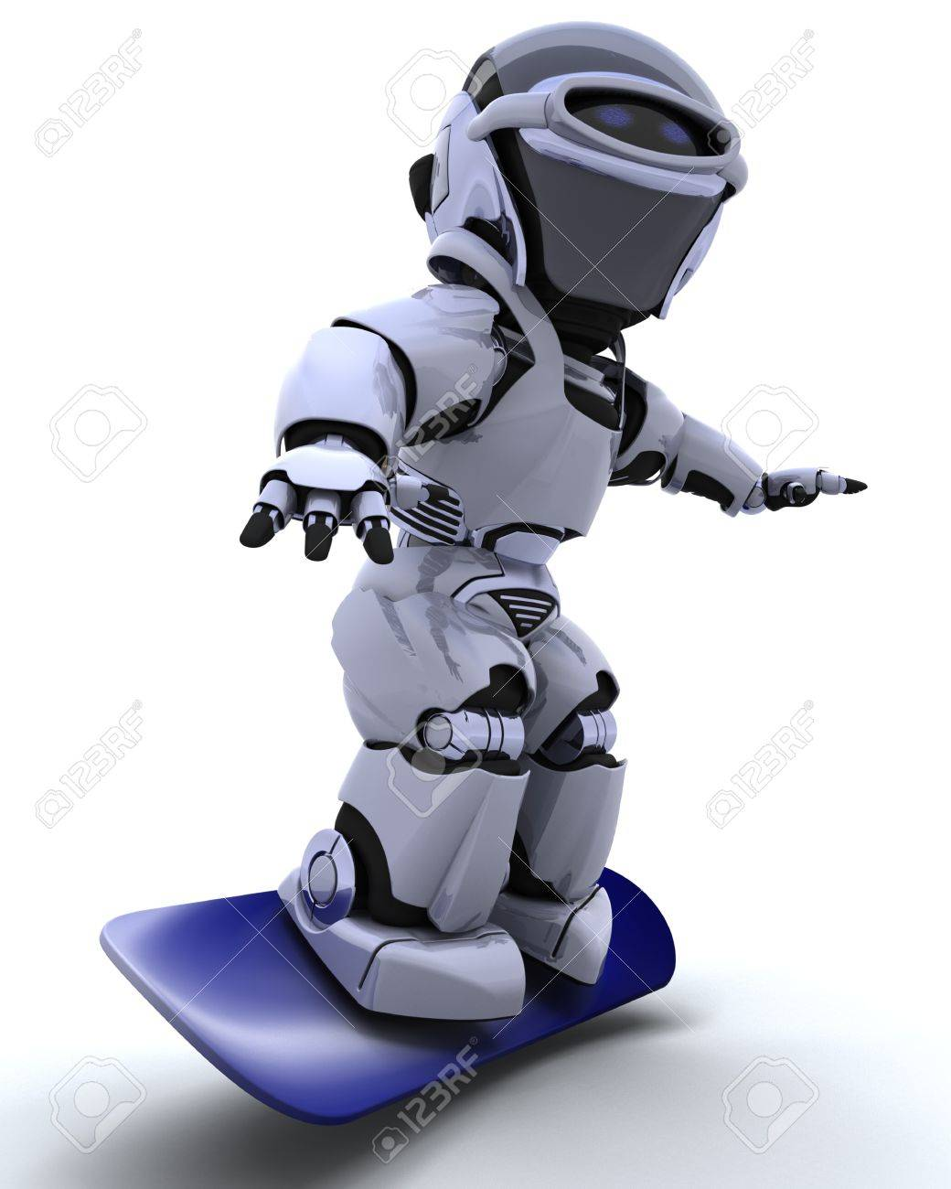 3D render of a Robot with snowboard Stock Photo - 8614041